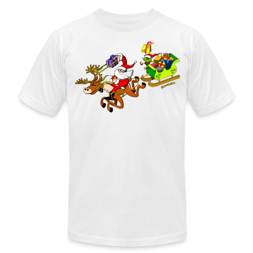 Santa's Gift Delivery with a Slingshot - Men's Jersey T-Shirt