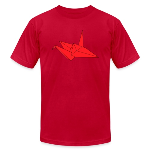 Origami Paper Crane Design - Red - Unisex Jersey T-Shirt by Bella + Canvas
