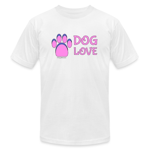 Pink Dog paw print Dog Love - Unisex Jersey T-Shirt by Bella + Canvas