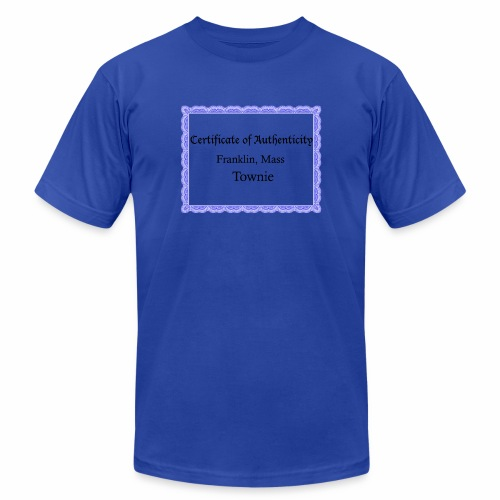 Franklin Mass townie certificate of authenticity - Unisex Jersey T-Shirt by Bella + Canvas