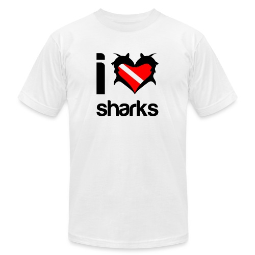 I Love Sharks - Unisex Jersey T-Shirt by Bella + Canvas