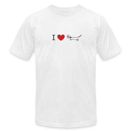 I love Dachshund - Unisex Jersey T-Shirt by Bella + Canvas