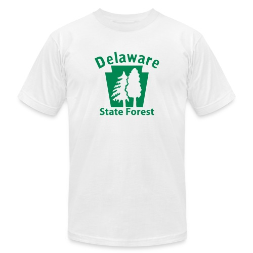 Delaware State Forest Keystone (w/trees) - Unisex Jersey T-Shirt by Bella + Canvas
