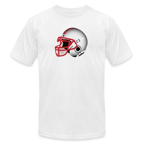 Custom Football Helmet Red on White - Unisex Jersey T-Shirt by Bella + Canvas