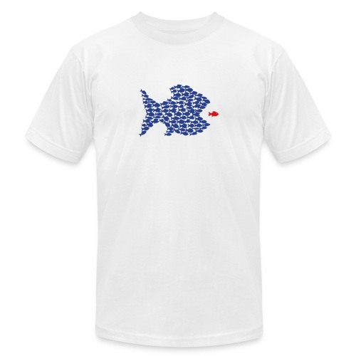 fish swarm comic hunt hunter ocean hunting fishes - Unisex Jersey T-Shirt by Bella + Canvas