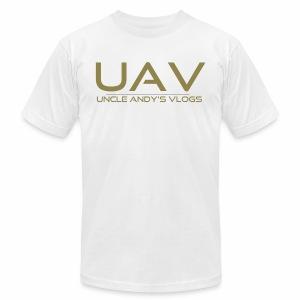 Uncle Andy's Vlogs Merch (gold) - Men's Fine Jersey T-Shirt