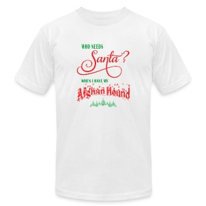 Afghan Hound Who needs Santa with tree - Men's Fine Jersey T-Shirt