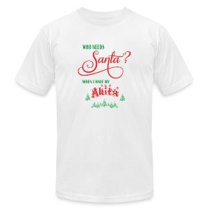 Akita Who needs Santa with tree - Men's Fine Jersey T-Shirt
