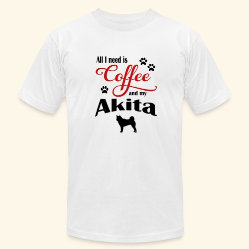 Akita and my need of Coffee - Men's  Jersey T-Shirt