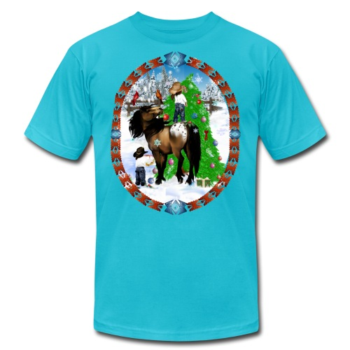 A Horse and A Kid Christmas Oval - Unisex Jersey T-Shirt by Bella + Canvas