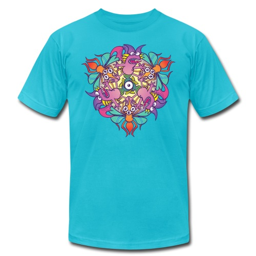 Mosquitoes, bats and fishes in doodle art style - Unisex Jersey T-Shirt by Bella + Canvas