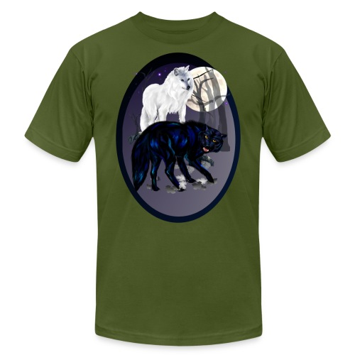 Two Wolves-oval - Unisex Jersey T-Shirt by Bella + Canvas