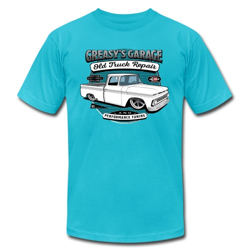 Greasy's Garage Old Truck Repair - Unisex Jersey T-Shirt by Bella + Canvas