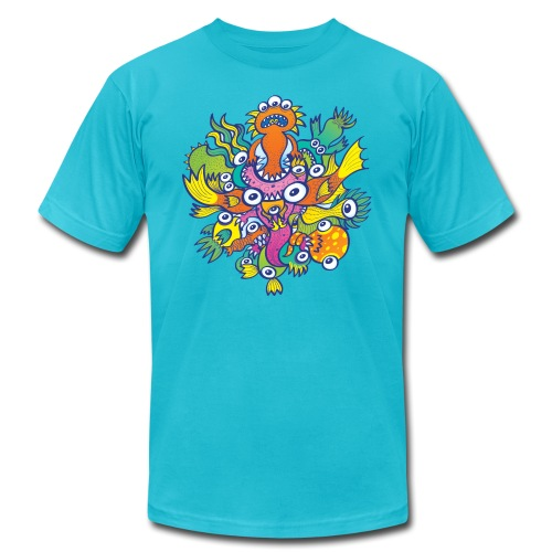 Don't let this evil monster gobble our friend - Unisex Jersey T-Shirt by Bella + Canvas