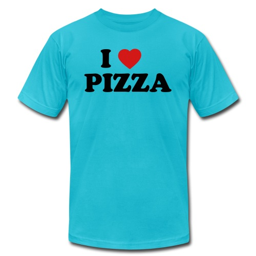 i heart pizza 2 color - Unisex Jersey T-Shirt by Bella + Canvas