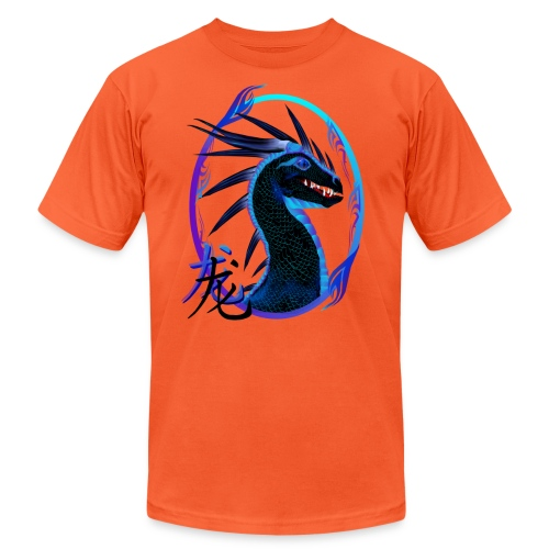 Horned Black Dragon and Symbol - Unisex Jersey T-Shirt by Bella + Canvas