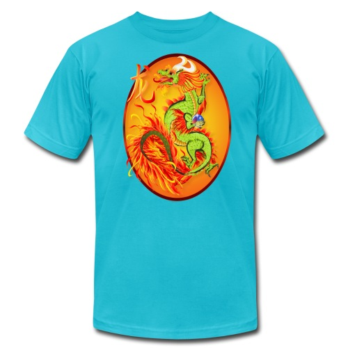 New Year Dragon and Symbol Oval - Unisex Jersey T-Shirt by Bella + Canvas