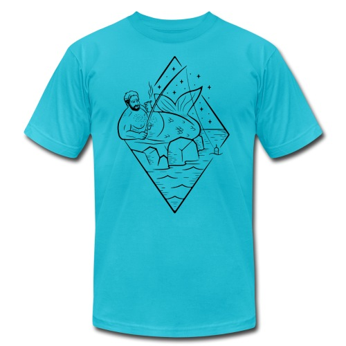 Misguided Merman Smoking and Fishing Design - Unisex Jersey T-Shirt by Bella + Canvas
