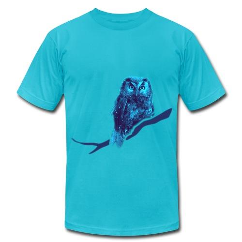owl bird fowl blue - Unisex Jersey T-Shirt by Bella + Canvas