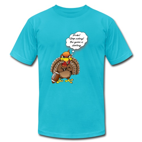 turkey with football - Unisex Jersey T-Shirt by Bella + Canvas