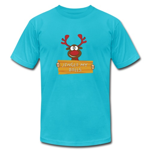 Red Christmas Horny Reindeer 7 - Unisex Jersey T-Shirt by Bella + Canvas