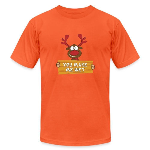 Red Christmas Horny Reindeer 2 - Unisex Jersey T-Shirt by Bella + Canvas