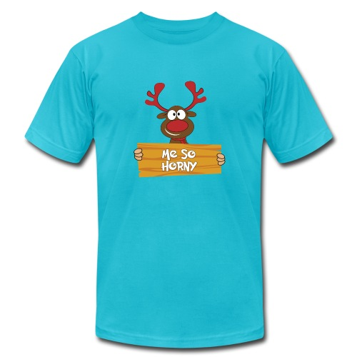 Red Christmas Horny Reindeer 6 - Unisex Jersey T-Shirt by Bella + Canvas