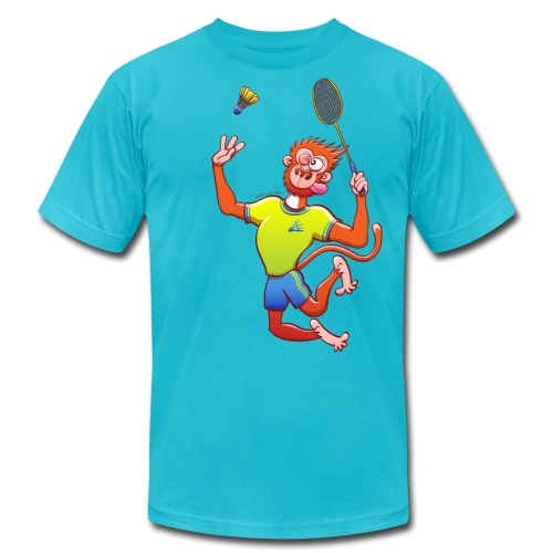 Red Monkey Playing Badminton - Unisex Jersey T-Shirt by Bella + Canvas