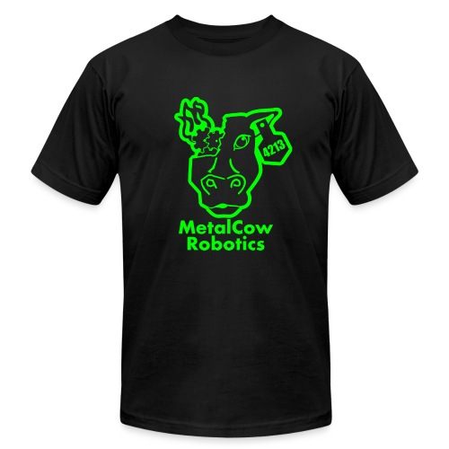 MetalCowLogo GreenOutline - Unisex Jersey T-Shirt by Bella + Canvas