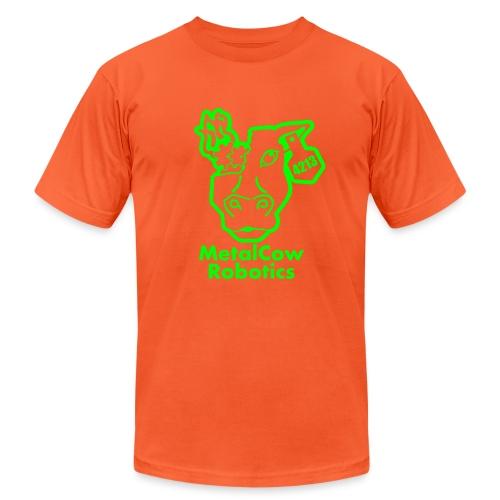 MetalCowLogo GreenOutline - Unisex Jersey T-Shirt by Bella + Canvas