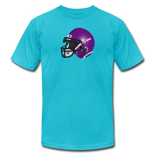 purple footbal lhelmet - Unisex Jersey T-Shirt by Bella + Canvas