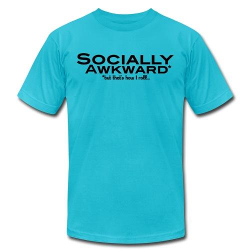 sociallyawkward roll black - Unisex Jersey T-Shirt by Bella + Canvas