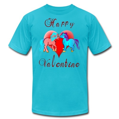 Happy Valentine Ponies - Unisex Jersey T-Shirt by Bella + Canvas