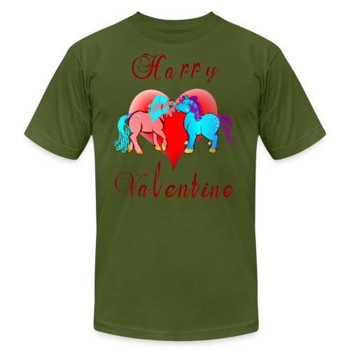 Happy Valentine Ponies - Unisex Jersey T-Shirt by Bella + Canvas