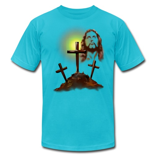 Jesus and Three Crosses - Unisex Jersey T-Shirt by Bella + Canvas