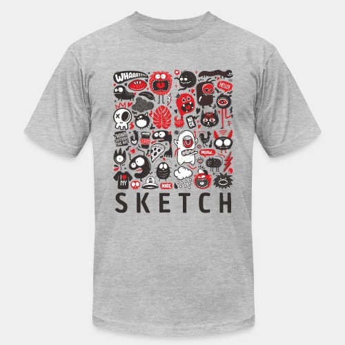animals sketch design monsters - Unisex Jersey T-Shirt by Bella + Canvas