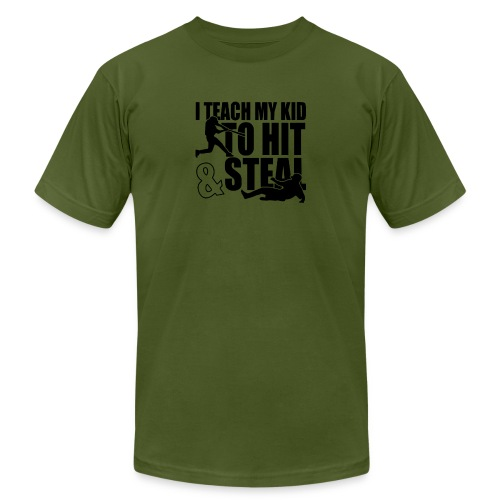 I Teach My Kid to Hit and Steal Baseball - Men's Jersey T-Shirt