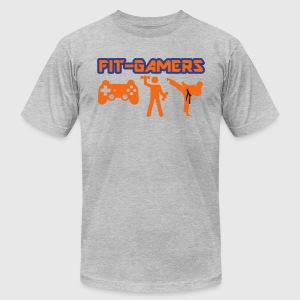 FIT-GAMERS Logo w/ Icons - Men's T-Shirt by American Apparel