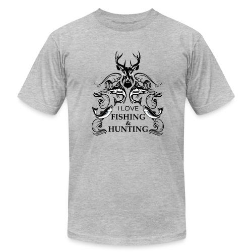 I love fishing and hunting - Men's Fine Jersey T-Shirt