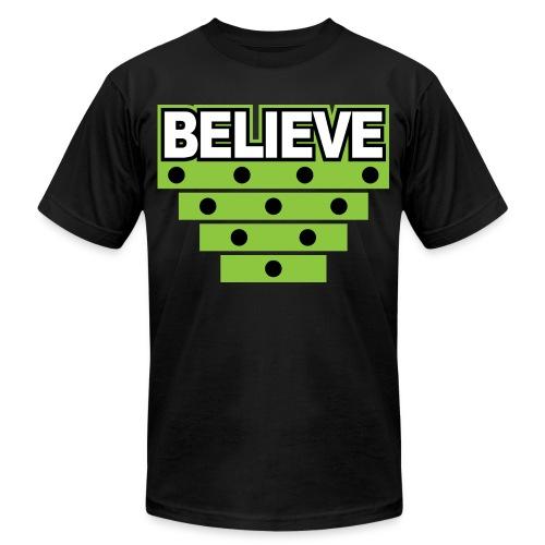 Believe Logo green - Unisex Jersey T-Shirt by Bella + Canvas
