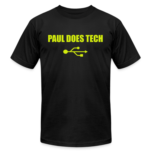 Paul Does Tech Yellow Logo With USB (MERCH) - Men's  Jersey T-Shirt