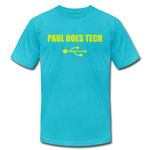 Paul Does Tech Yellow Logo With USB (MERCH) - Men's Jersey T-Shirt