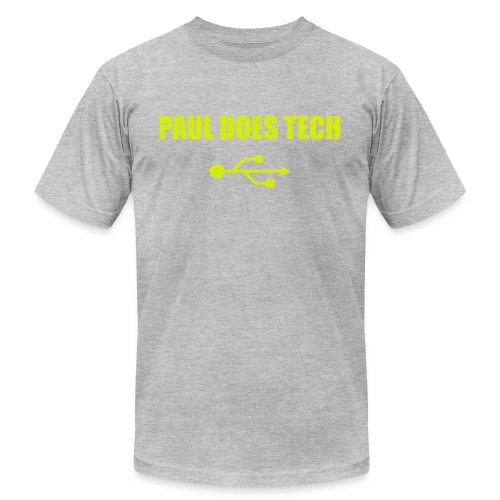 Paul Does Tech Yellow Logo With USB (MERCH) - Unisex Jersey T-Shirt by Bella + Canvas