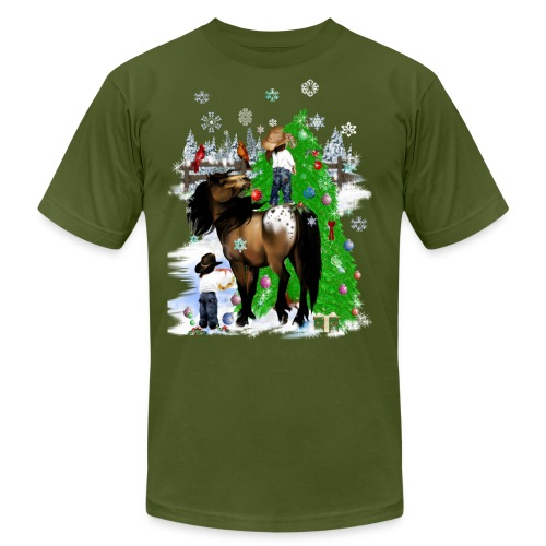 A Horse and Kid Christmas - Unisex Jersey T-Shirt by Bella + Canvas