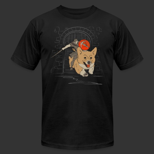 A Corgi Knight charges into battle - Unisex Jersey T-Shirt by Bella + Canvas