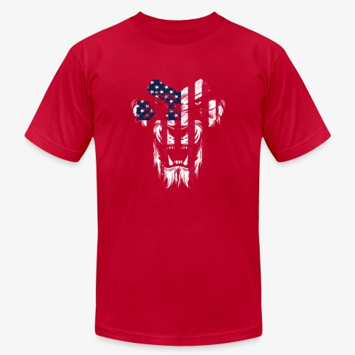 Lovely American Lion USA Flag Silhouette Portrait - Unisex Jersey T-Shirt by Bella + Canvas