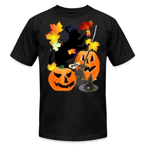 Halloween Black Kitty Batting Pretty Leaves - Unisex Jersey T-Shirt by Bella + Canvas