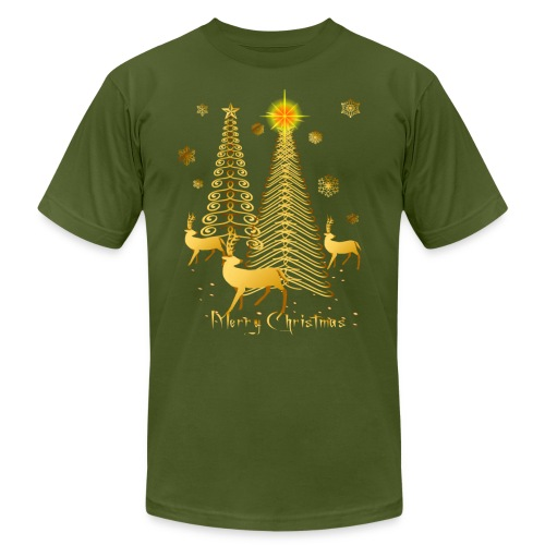 Gold Christmas Trees and Reindeer - Unisex Jersey T-Shirt by Bella + Canvas