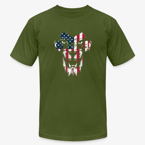 American Flag Lion - Men's Jersey T-Shirt