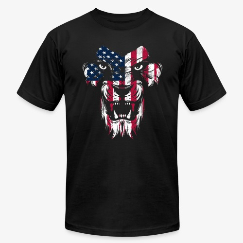 American Flag Lion - Unisex Jersey T-Shirt by Bella + Canvas